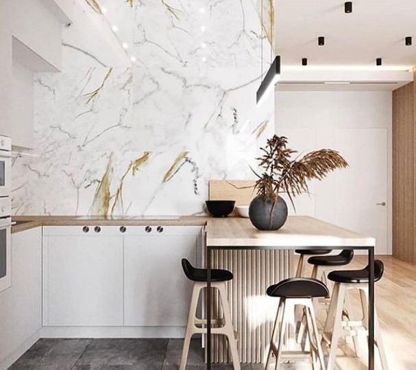pared marmol en cocina